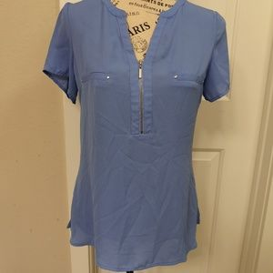 APT 9 SHORT SLEEVE ZIP UP WOMENS BLOUSE SMALL